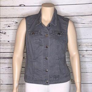 Christopher & Banks XL Gray Denim Jean Vest Jacket